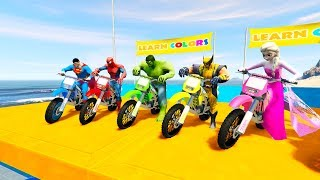 Download LEARN COLOR DIRT BIKES with Superheroes jump 3D Cartoon for kids and babies Video