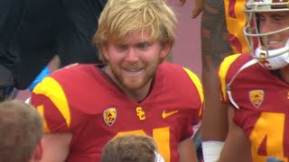 Download Highlight: USC's blind long snapper Jake Olson finds game action on extra point against WMU Video
