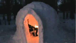 Download Igloo with fireplace burning Video