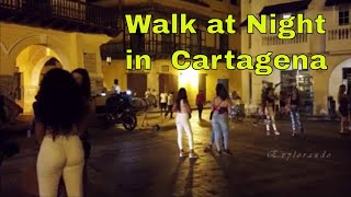 Download A Night Walk at Clock Tower Square Cartagena de Indias Colombia 4K Video
