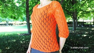 Download Knitting a blouse - autumn leaves pattern. Part 1 of 3 Video
