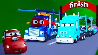 Download Carl the Super Truck and the Car Carrier in Car City | Trucks Cartoon for kids Video