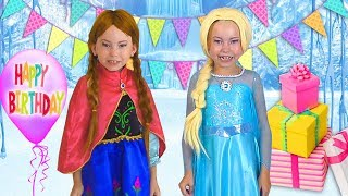 Download Alice Pretend Princess & preparing celebrating Happy Birthday for Frozen Elsa Video