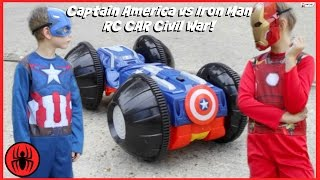 Download CAPTAIN AMERICA vs IRONMAN, Monkey Queen Gorilla RC CAR CIVIL WAR Real Life Avengers Rumbler edition Video