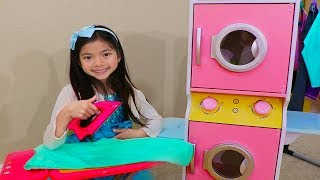 Download Emma Pretend Play at Laundry Store w/ Washing Machine Toys Video