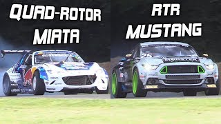 Download Mad Mike's Quad-Rotor Miata vs. Vaughn Gittin Jr.'s RTR Mustang! - INSANE Drift Builds Video