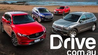 Download 2017 Mazda CX-5 v VW Tiguan v Nissan X-Trail v Ford Escape Comparison | Drive.au Video