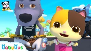 Download Baby Kitten Catches Big Bad Wolf | Super Panda Rescue Team | Monster Cars | Kids Song | BabyBus Video