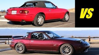 Download Stock 1991 vs Modified 1995 Mazda MX-5 Miata - Head to Head Review! Video
