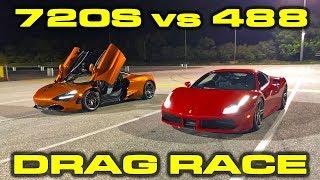 Download McLaren 720S vs Ferrari 488 GTB 1/4 Mile Drag Racing Video