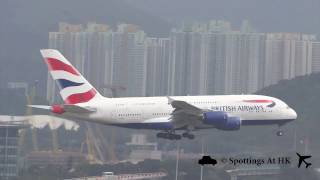 Download British Airways Airbus A380-800 Landing at Hong Kong International Airport (G-XLEL) Video