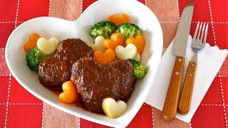 Download Heart-Shaped Simmered Hamburger Steak ハートいっぱい♡煮込みハンバーグの作り方 - OCHIKERON - CREATE EAT HAPPY Video