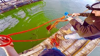 Download MAGNET FISHING OFF A DOCK WITH TWO 500LB PULL MAGNETS!!! HONEY HOLE Video