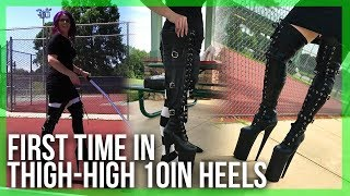 Download EXTREME Heels: Trying on and Walking in 10inch (25cm) Pleaser Beyond-3028 Video