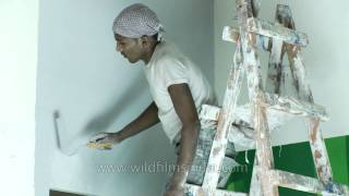 Download Wall being painted in India Video