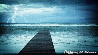 Download Rain & Thunder with Ocean Waves Sounds | White Noise for Relaxation, Sleep or Studying | 10 Hours Video