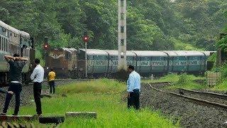 Download Konkan Railway Crossing - Fastest and Slowest* Trains of Konkan Railway Meet Each other at Karanjadi Video