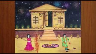 Download Diwali Drawing - How To Draw Diwali Scene for Kids and Children's Easy || Diwali Festival Drawing Video