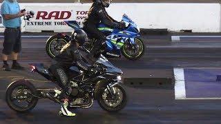 Download H2 vs ZX14 vs GSXR - superbikes drag racing Video