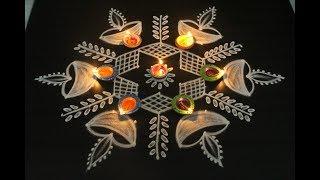 Download Diwali deepam muggulu with 9 dots || easy rangoli designs || new festival kolams Video