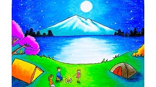 Download Cara menggambar pemandangan ″Moonlight″ (drawing scenery moonlight) dengan gradasi warna oilpastel Video