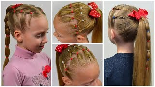 Download 3 EASY Everyday hairstyles with PIGTAILS and ELASTICS (Easy little girl hairstyles #21) #LGH Video