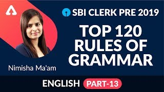 Download SBI CLERK PRE Exam 2019 | TOP 120 Rules Of Grammar - Part 13 | English | Nimisha Ma'am Video
