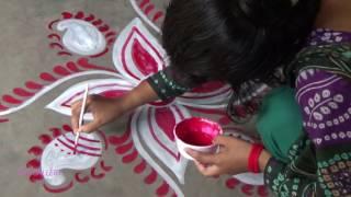 Download Beautiful bi-colour Alpana Design , Diwali Special Rangoli Design Video