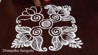Download Beautifull friday lotus muggulu with 6 dots * easy lotus pulli kolam * Apartment rangoli designs Video
