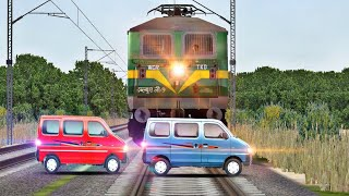 Download Crazy van struck the traffic at unmanned level crossing in indian train simulator Video