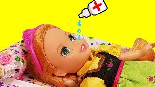 Download RUNNY NOSE ! Elsa & Anna toddlers - Little Anna is Sick - Afraid of Nose Drops - Sneezing Video