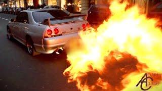 Download Nissan Skyline - HUGE FLAMES + Police let him off! Video