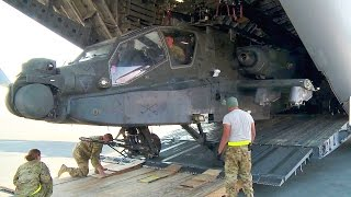 Download Unloading AH-64 Apache Helicopters from C-17 Globemaster III Video