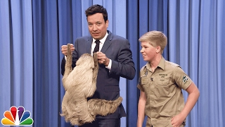 Download Robert Irwin and Jimmy Cuddle a Sloth Video