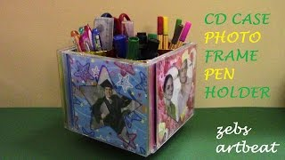 Download DIY Photo frame Pen holder (Recycle old CD cases, tissue paper rolls) Video