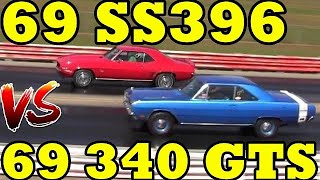 Download Camaro SS396 / 375 (L78) vs 340 Dodge Dart GTS- 1/4 Mile Drag Race Video - Road Test TV ® Video