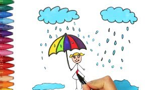 Download How to draw and color a rain and kid | How to Draw and Color Kids TV Video