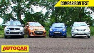 Download Hyundai Grand i10 Vs Toyota Liva Vs Maruti Swift Vs Ford Figo | Comparison Test | Autocar India Video