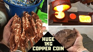 Download Huge 1KG Copper Coin Casting - Cable To Coin - Molten Copper Video