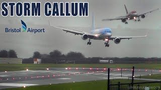 Download BRISTOL AIRPORT DURING STORM CALLUM | DIRECT CROSSWIND! SIDEWAYS LANDINGS, GO AROUNDS...(WITH ATC) Video