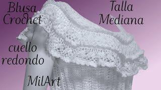 Download Blusa Crochet con Cuello Redondo talla Mediana paso a paso Video