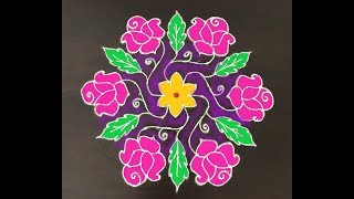 Download Beautiful chukki rangoli with rose design || 15-8 interlaced dots kolam Video