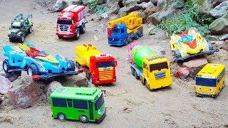 Download Fire Truck Crane Truck & Tayo Bus rescues Racing Car Truck Toys | Excavator Dump Truck Construction Video