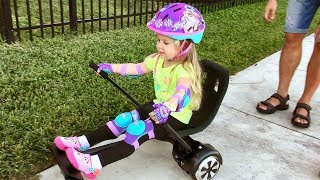 Download Наш первый гироскутер HOVERBOARD CHALLENGE! Halo Rover Family Fun Playtime with Diana and Roma Video