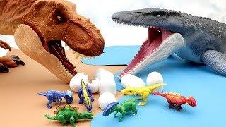 Download Mosasaurus VS T.Rex | Jurassic World 2 Fallen Kingdom Toy 공룡메카드가 위험해 Toy Movie For Kids~ Video