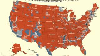 Download Complete America voting map county & state. Trump red / Clinton blue 2016 popular vote Video