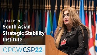 Download South Asian Strategic Stability Institute Statement by Ms Maria Sultan at CSP-22 Video