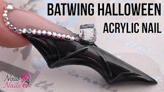 Download Bat Wing Shaped Acrylic Nail with Bling - Halloween Nail Design Video