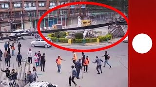 Download Incredible CCTV: Moment 7.9 magnitude earthquake hits Nepal Video