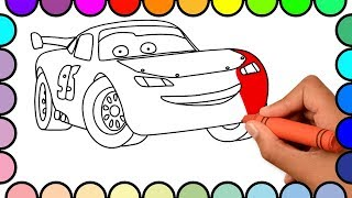 Download How to Draw Lightning McQueen Cars - Cars 2 Cartoon Coloring Pages For Kids - Coloring Book for Baby Video